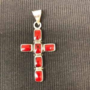 "Jewelry - Sterling Silver and Jasper Cross Pendant (2"" long)"